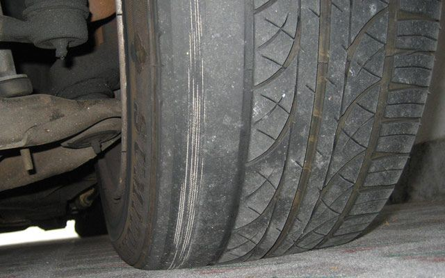 A dangeously worn tyre thanks to poor wheel alignment